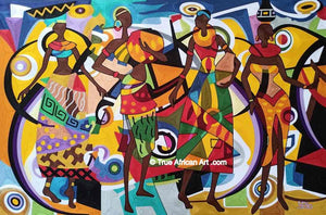 Yeboah Silk Thread Art - Yeb  |  Ghana  |  Ready to Dance  |  Hand Woven  |  True African Art .com