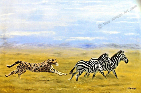 "Wycliffe Ndwiga  -  ""The Chase""  -  True African Art.com"