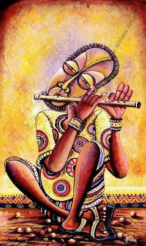 "African Painting ""The Flutist"" 