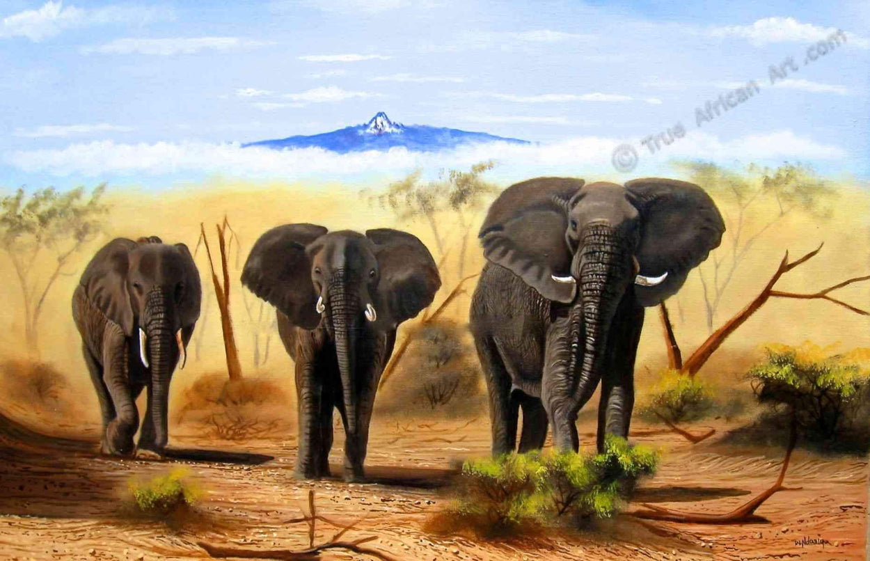 Wycliffe Ndwiga  |  Kenya  |  Three Elephants  |  Print  |  True African Art .com