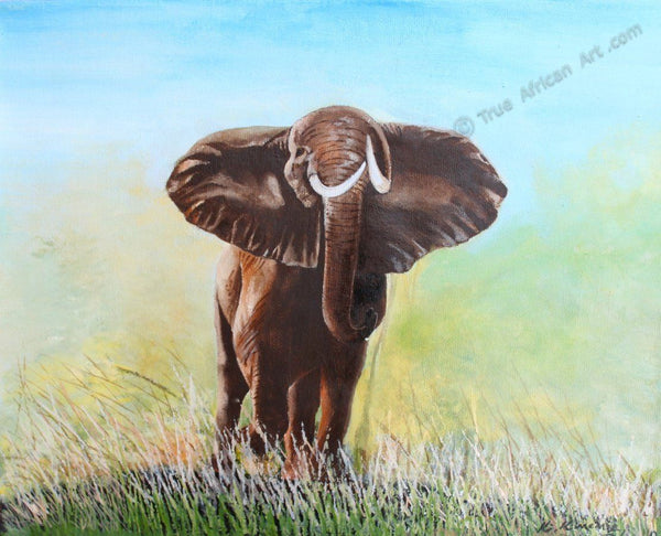 "Richard Kimemia  -  ""Wild Elephant""  -  True African Art.com"