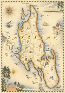 Illustrated by Chris Robitaille  |  Zanzibar, Tanzania, East Africa Map  |  True African Art .com