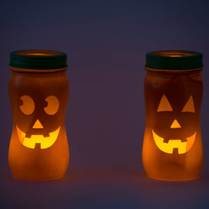 Mason Jar LED Candle Pumpkin Decorations