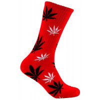 Mad Toro Socks - Red w/ Black/White Leaves