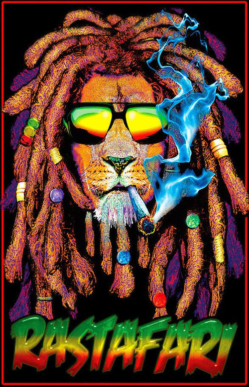Rastafari Lion Blacklight Poster Blockmounted