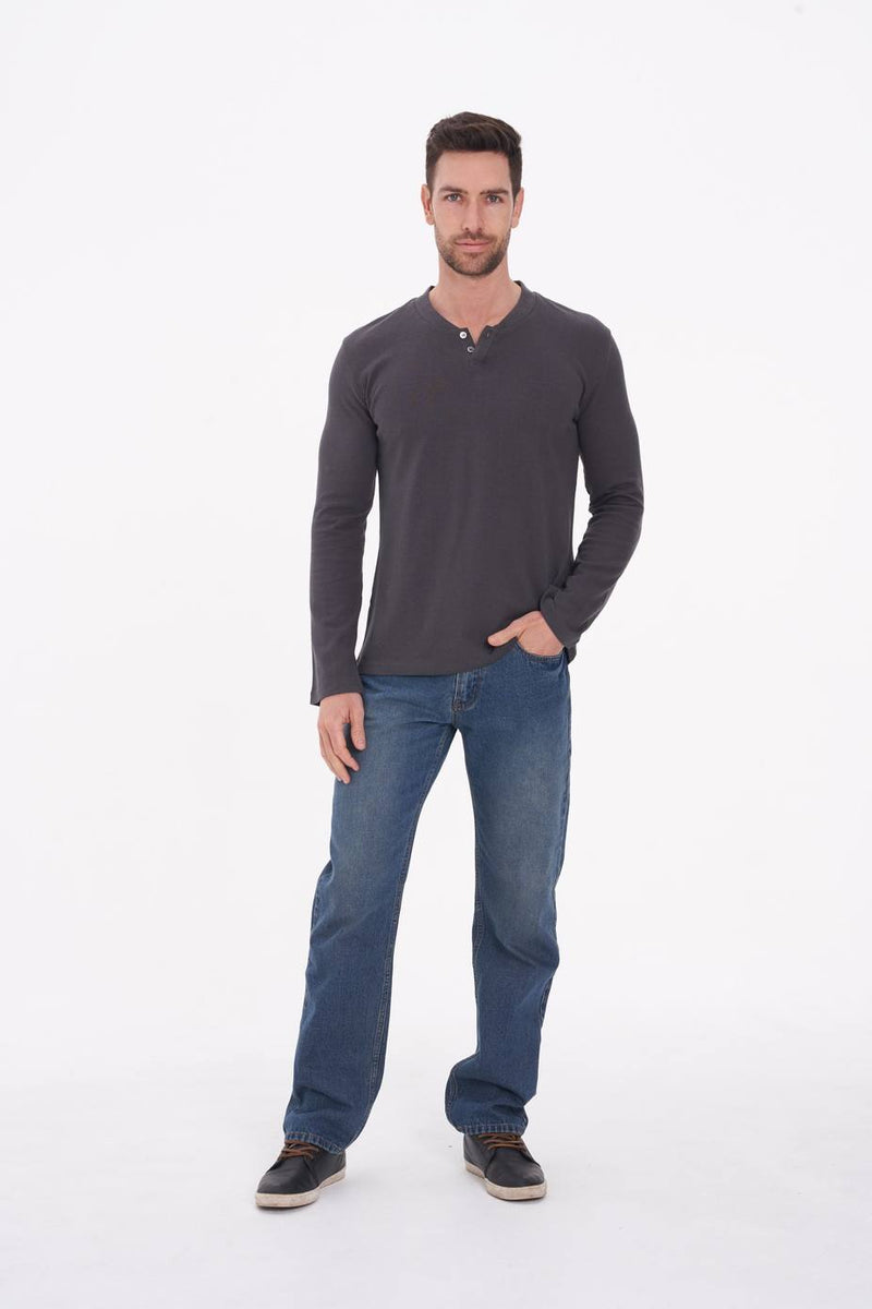 Men's Hemp Cotton Henley Tee-Dark Grey