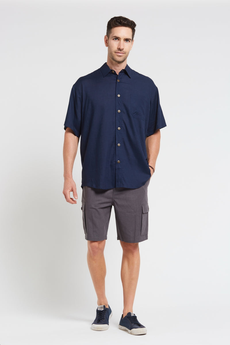 New Mens Hemp Rayon Relax Fit Short Sleeve Shirt-Navy