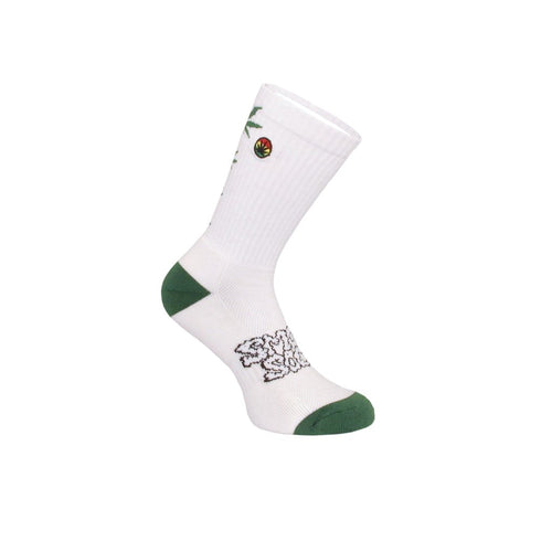 SMOKEY SOCKS HEMP LEAF LADDER - White and Green