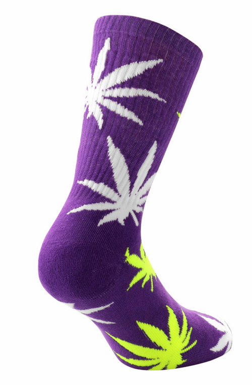 Weed Cannabis Marijuana Ganja Hash Crew Socks Sports Above Ankle High Purple