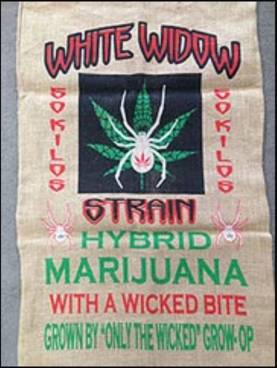 WHITE WIDOW MARIJUANA BURLAP BAG ( sold by the piece )