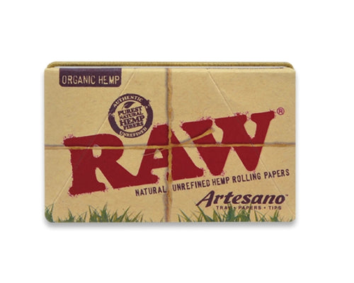 RAW Hemp Rolling Papers Artesano 1 1/4 + Filter Tips + Tray
