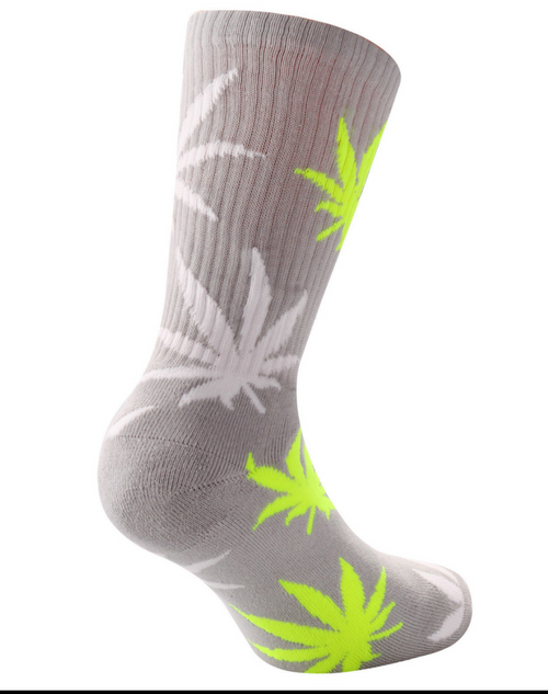 Weed Cannabis Marijuana Ganja Hash Crew Socks Sports Above Ankle High Grey