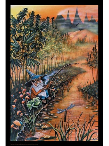 Gnome Gone Fishing (Blacklight Responsive) Blockmounted Poster