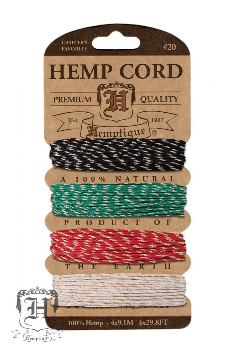 Hemp Cord Card Metallic #10/#20 .5mm/1mm - Rasta Glitter