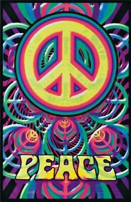 Peace Sign Blacklight Poster Blockmounted