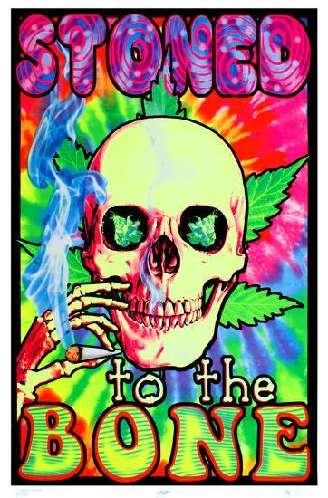 STONED TO THE BONE BLACKLIGHT POSTER BLOCKMOUNTED