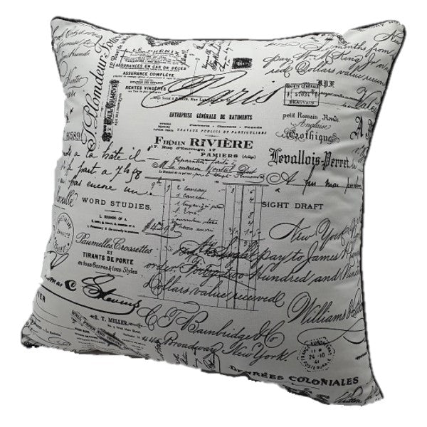 House of Hamilton Scatter Cushion - White & Black Script
