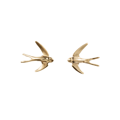 3D Swallow Stud Earrings