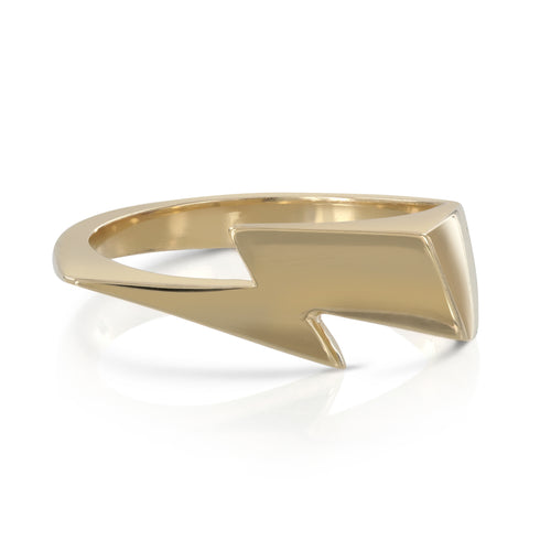 Bowie Flash ring, lightning bolt ring, solid gold by Louise wade London