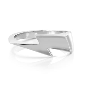 Bowie Flash ring, lightning bolt ring, sterling silver by Louise wade London