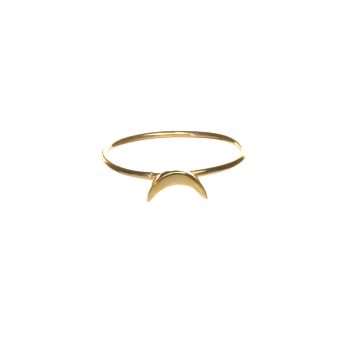 crescent moon ring in gold vermeil, Louise Wade jewellery
