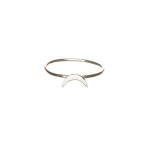 crescent moon ring in silver, Louise Wade jewellery