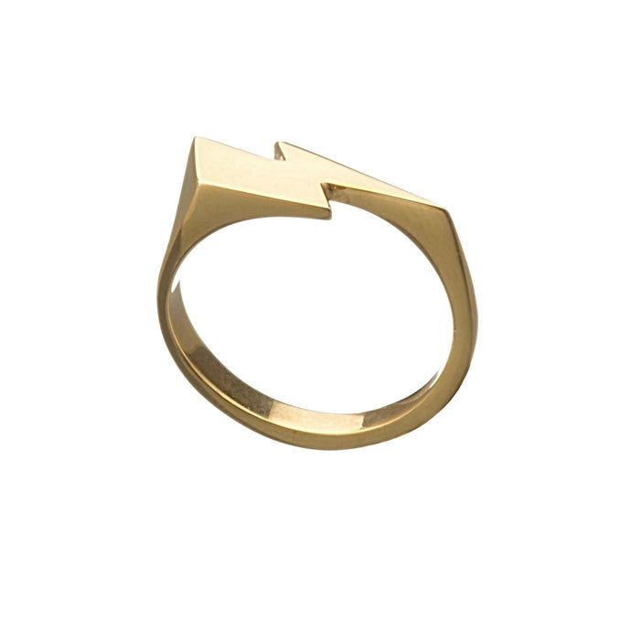Louise Wade David Bowie Flash signet ring in gold vermeil side