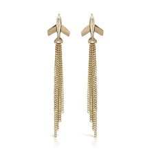 Load image into Gallery viewer, earrings made from solid gold jet plane with diamond cut vapour trail drops by louise wade london