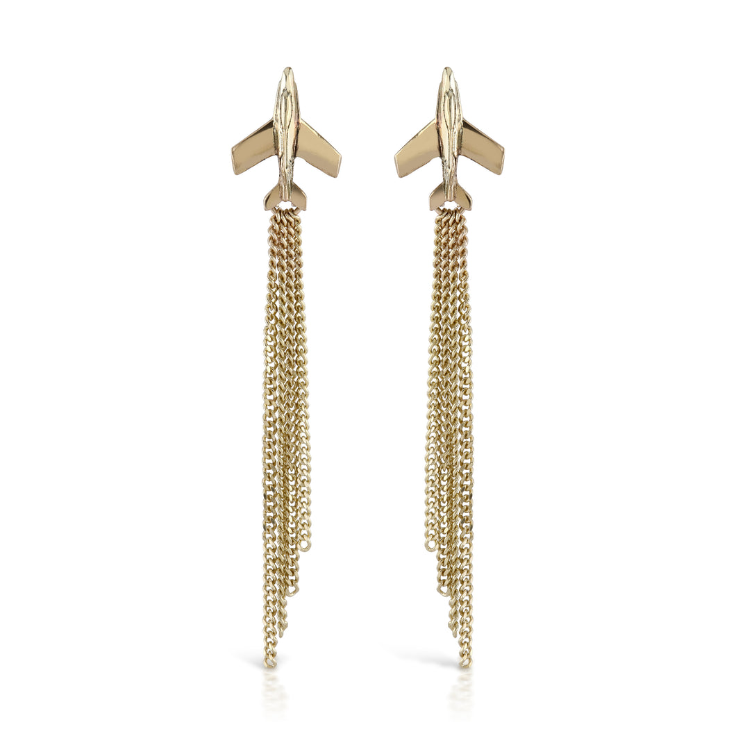 earrings made from solid gold jet plane with diamond cut vapour trail drops by louise wade london