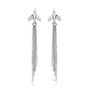 earrings made from solid silver jet plane with diamond cut chain vapour trail drops by louise wade london