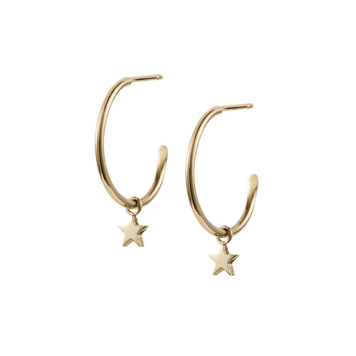 Large Hoops with Little Star Charms