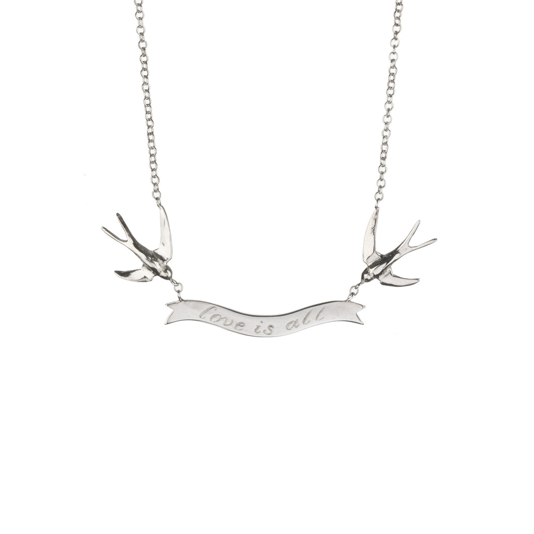 love is all swallow necklace in silver by Louise Wade