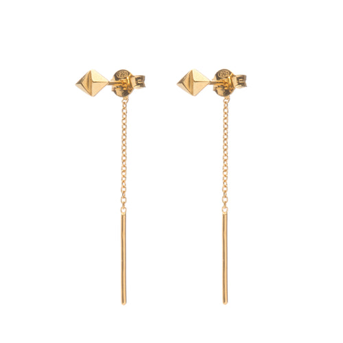 Rocka Stud Chainback Earrings in gold vermeil by Louise Wade
