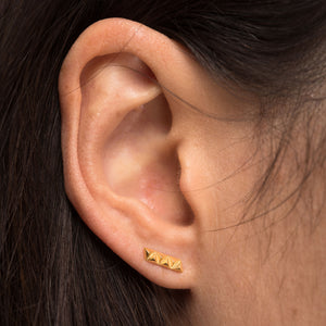 rocka line stud earrings gold vermeil by Louise Wade