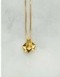 Kite Necklace, stud triangle necklace in gold vermeil by Louise Wade jewellery
