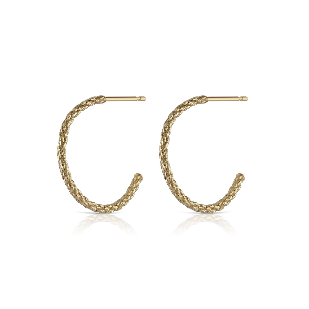 rope hoop earrings in gold by louise wade london