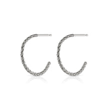 Load image into Gallery viewer, rope hoop earrings in silver by louise wade london