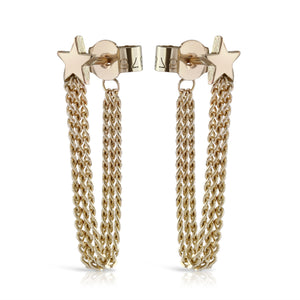 Shooting Star Chain Back Earrings