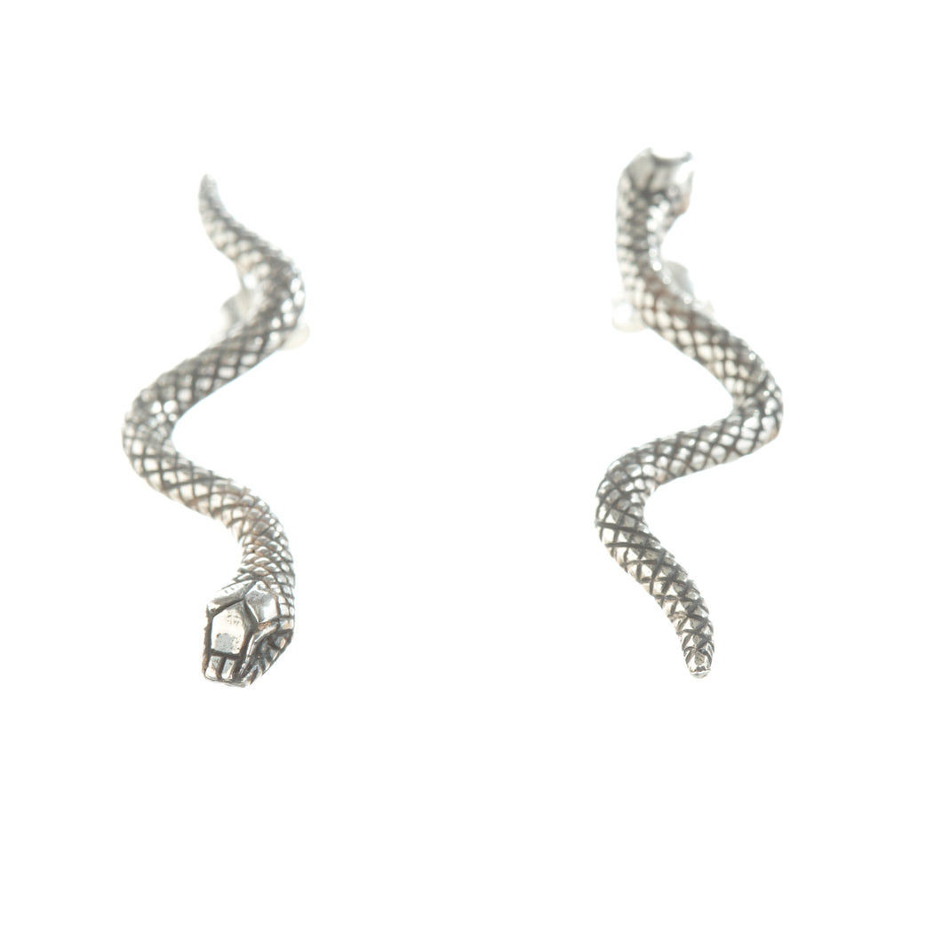 Snake earrings in gold or silver- London Jewellery Designer Louise Wade- Hope eternal love and protection from evil spirits