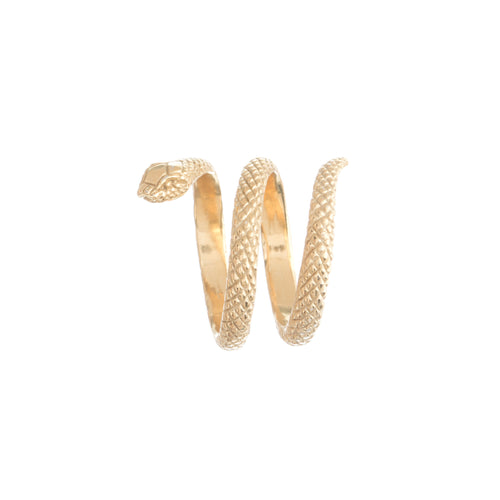 Louise Wade snake ring in gold vermeil, handmade in London