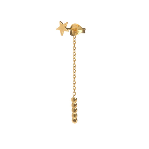 star stud chain back earring, star earring, gold star stud, Louise wade jewellery, handmade in London