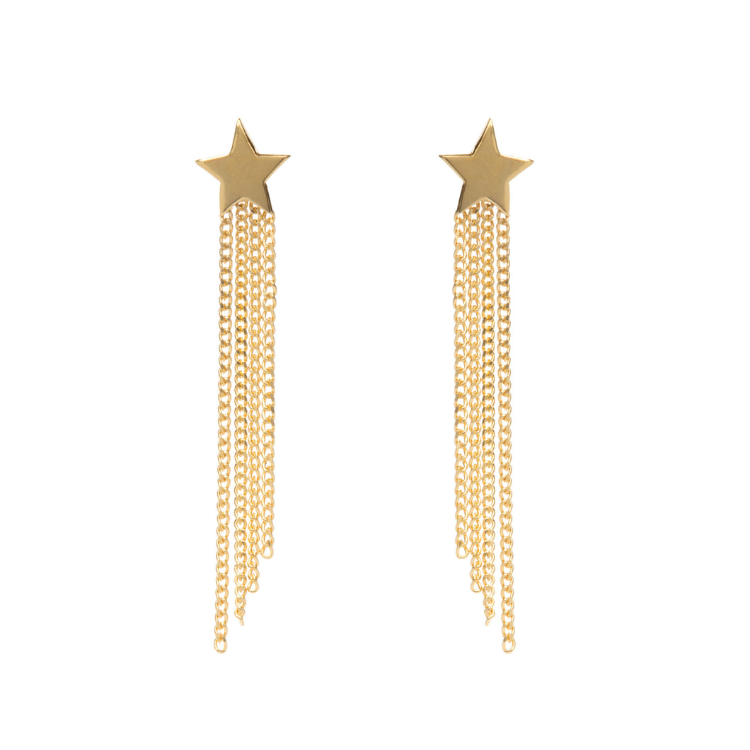 shooting star earrings, gold star earrings, Louise Wade jewellery, handmade in London