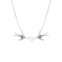 Load image into Gallery viewer, swallow heart necklace in sterling silver by louise wade London