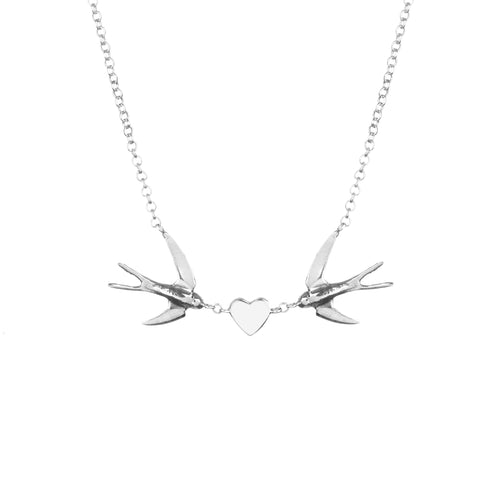 swallow heart necklace in sterling silver by louise wade London