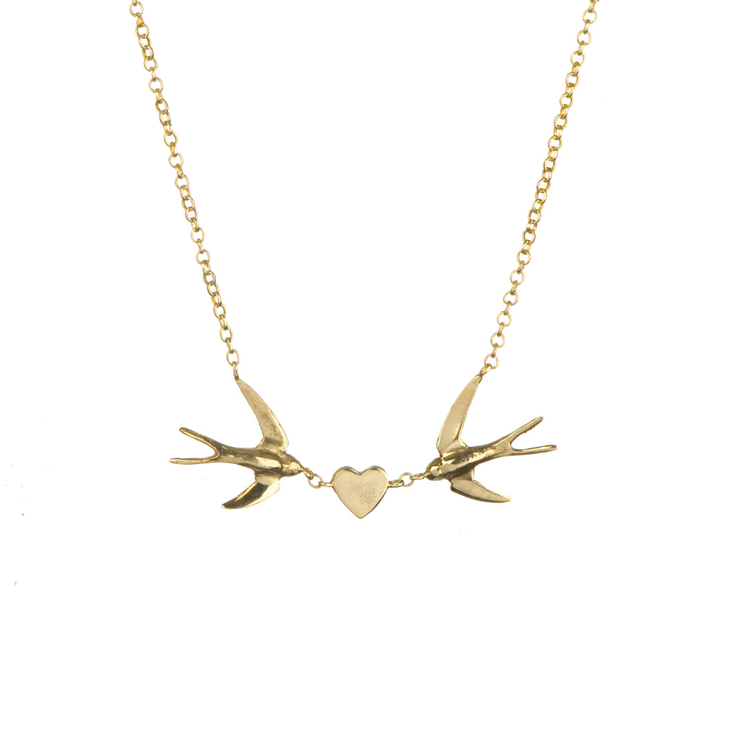 swallow heart necklace in gold vermeil by louise wade London