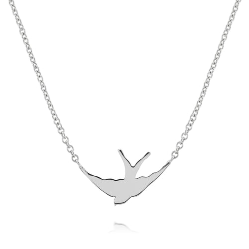 solid silver swallow silhouette necklace on silver chain by louise wade london