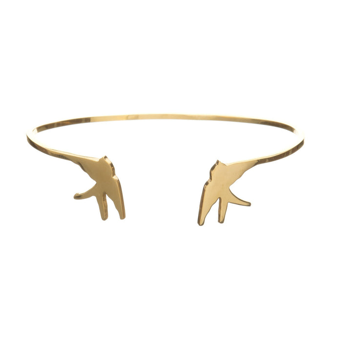 Swallow Open Bangle in gold vermeil by louise Wade