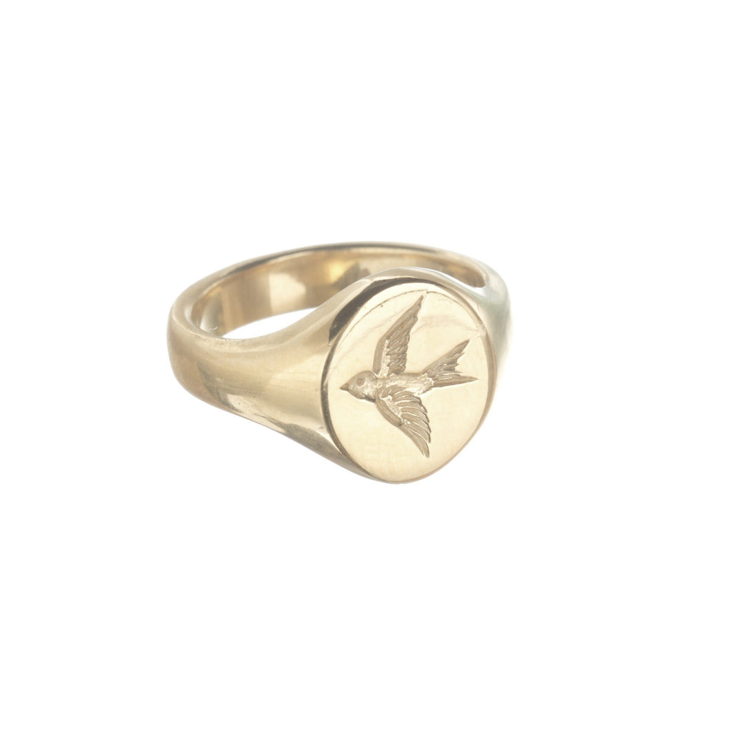 Swallow Signet Ring in solid 9ct gold by Louise Wade