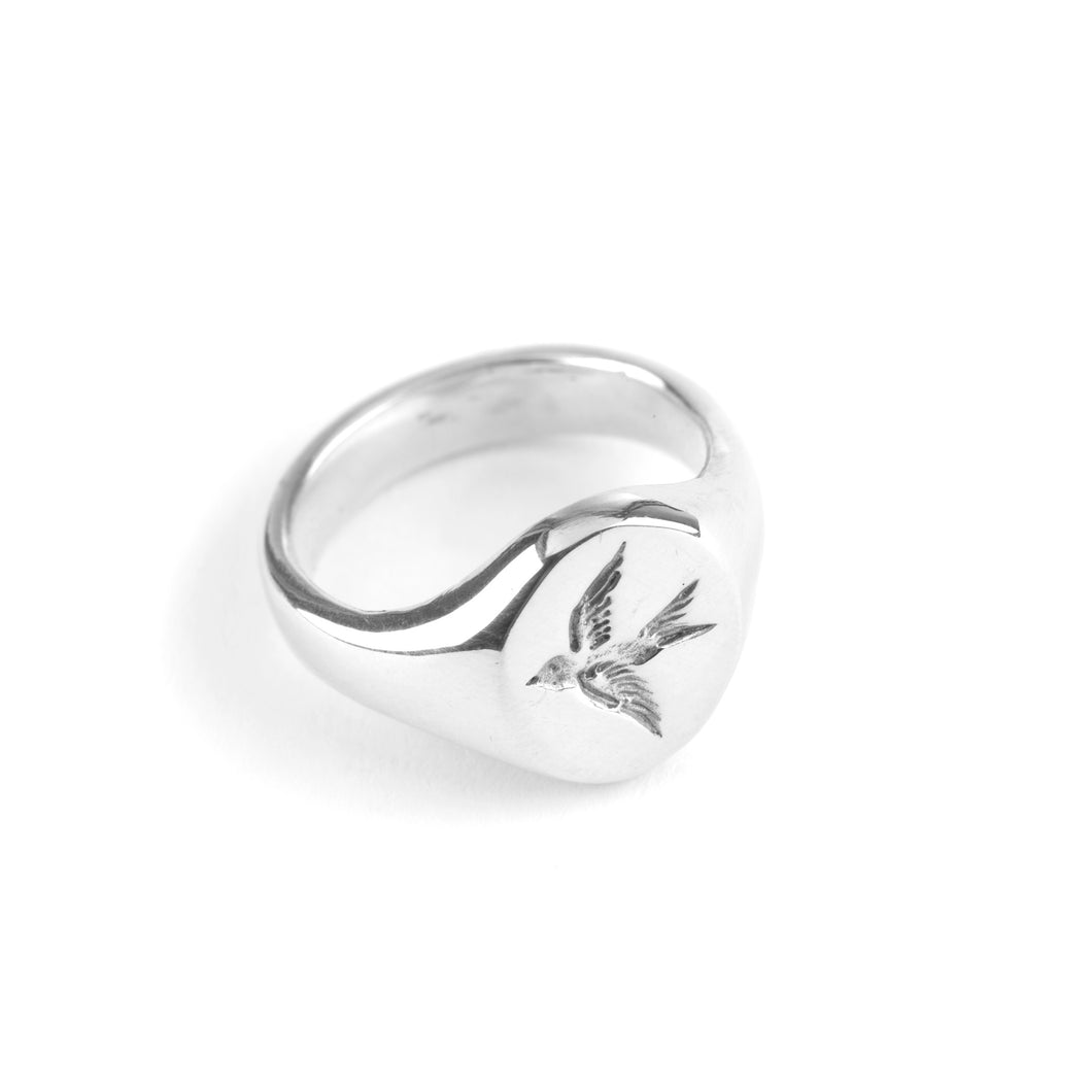 Louise Wade Swallow Signet Ring sterling silver