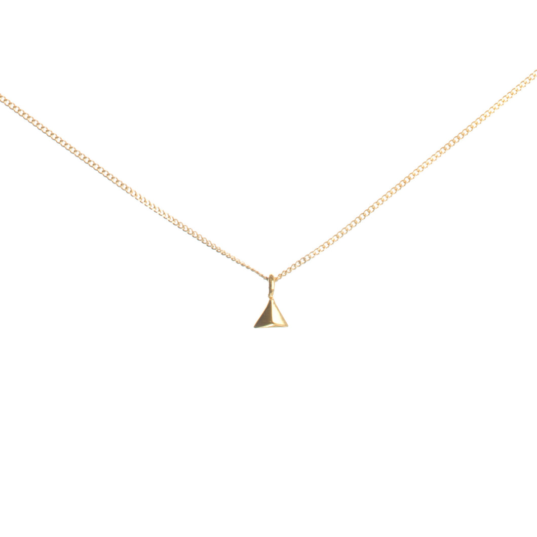 Tiny Rocka Pyramid Necklace in gold vermeil by Louise wade